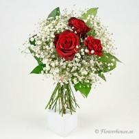 Tre små ord bukett med rosor